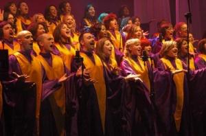 Con il Sunshine Gospel choir durante la registrazione del DVD dei 10 anni del coro al Teatro Nuovo